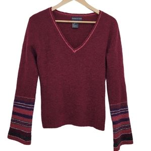 TRISTAN & ISEUT Sweater Red Pull Over Wool V Neck